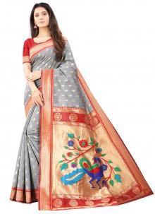 Silk Weaving Designer Traditional Saree in Grey