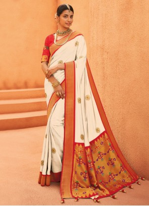 Silk Weaving Designer Traditional Saree in Off White and Red