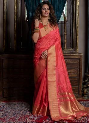 Silk Weaving Designer Traditional Saree in Rose Pink