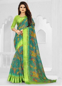 Silk Weaving Green Saree