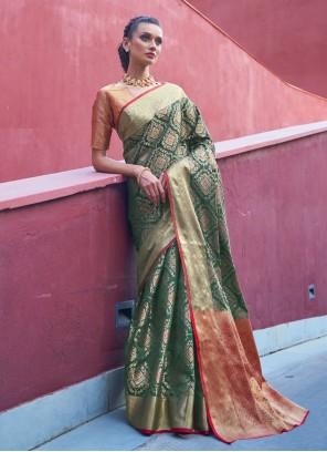 Silk Weaving Green Traditional Designer Saree