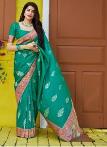 Silk Weaving Green Traditional Saree