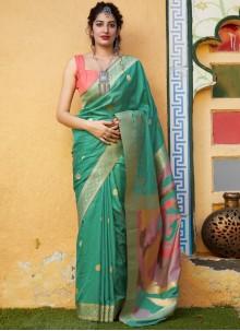 Silk Weaving Green Trendy Saree