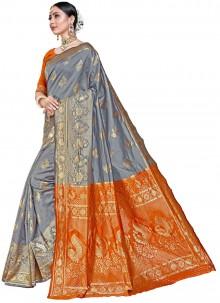 Silk Weaving Grey Classic Designer Saree