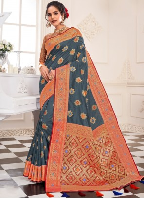 Silk Weaving Grey Designer Traditional Saree