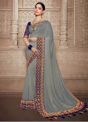 Silk Weaving Grey Trendy Saree
