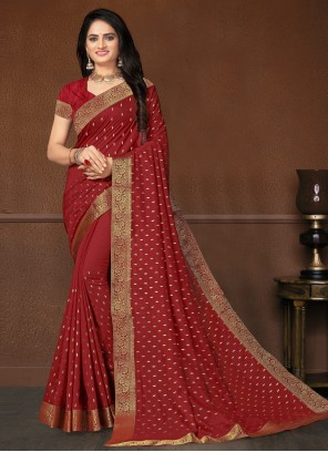 Silk Weaving Maroon Classic Saree