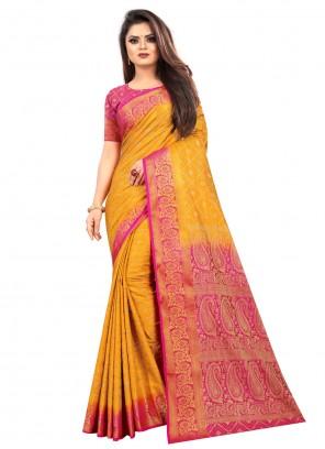 Silk Weaving Mustard Contemporary Saree