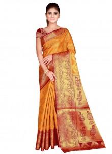 Silk Weaving Mustard Designer Traditional Saree