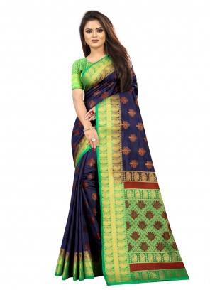 Silk Weaving Navy Blue Contemporary Saree