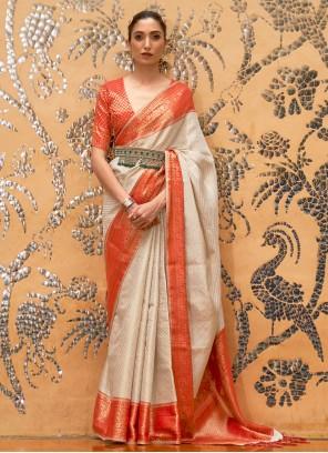 Silk Weaving Off White Traditional Designer Saree