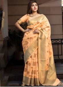 Silk Weaving Orange Classic Designer Saree