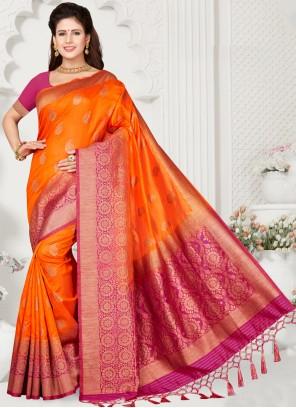 Silk Weaving Orange Classic Saree