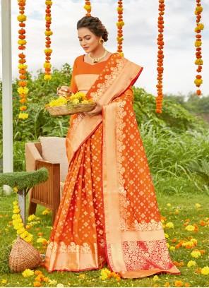 Silk Weaving Orange Designer Saree