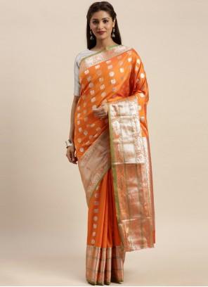 Silk Weaving Orange Traditional Designer Saree