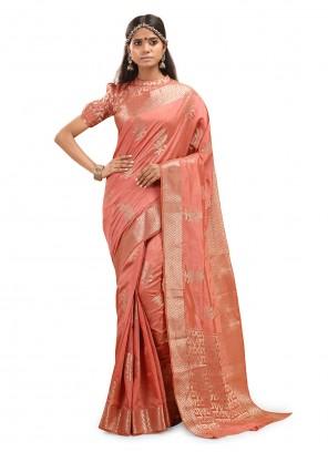 Silk Weaving Peach Classic Designer Saree