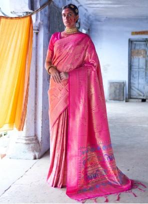 Silk Weaving Pink Classic Saree