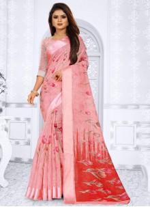 Silk Weaving Pink Saree
