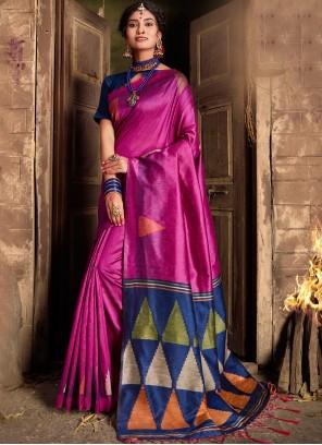 Silk Weaving Purple Classic Saree