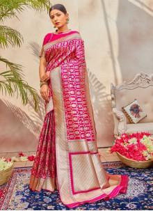 Silk Weaving Rani Traditional Saree