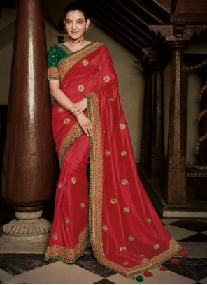Silk Weaving Red Classic Saree
