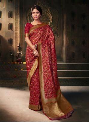 Silk Weaving Red Contemporary Saree