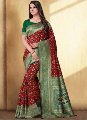 Silk Weaving Red Saree