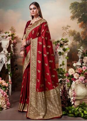 Silk Weaving Red Silk Saree