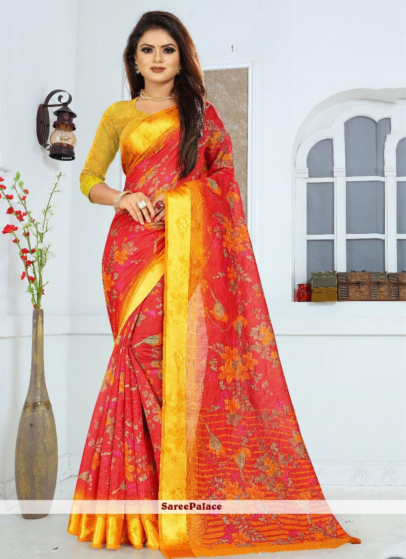 Red and Yellow Silk Weaving Saree