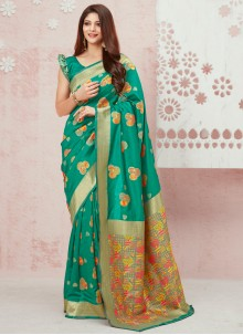 Silk Weaving Sea Green Traditional Saree