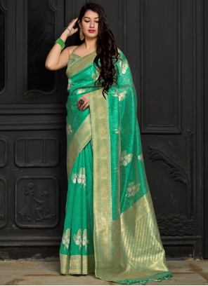 Silk Weaving Sea Green Trendy Saree