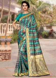 Silk Weaving Teal Traditional Saree