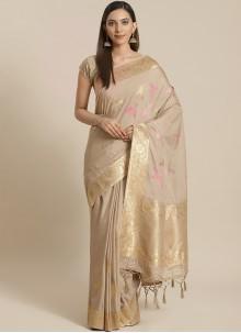 Silk Weaving Traditional Beige Designer Saree