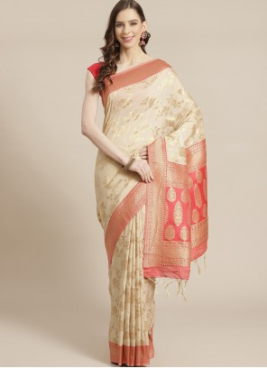Silk Weaving Traditional Cream Designer Saree