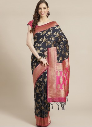 Silk Weaving Traditional Navy Blue Designer Saree