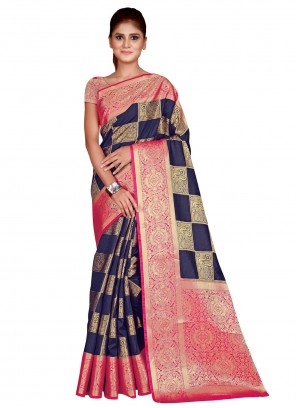 Navy Blue Silk Weaving Traditional Designer Saree