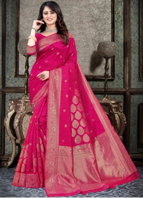 Hot Pink Silk Weaving Traditional Designer Saree