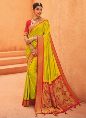 Green Silk Weaving Traditional Designer Saree