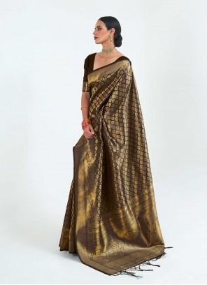 Silk Weaving Traditional Designer Saree in Black