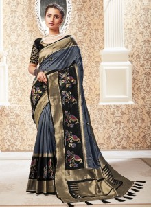 Silk Weaving Traditional Designer Saree in Black and Grey