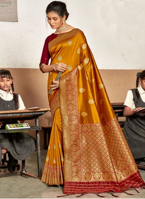 Silk Weaving Traditional Designer Saree in Mustard