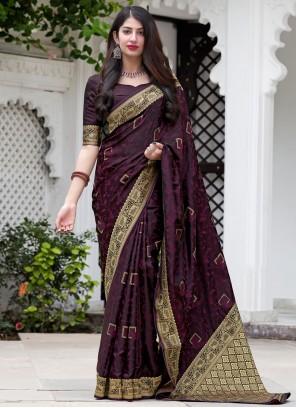 Silk Weaving Traditional Designer Saree in Wine