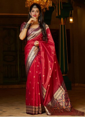 Red Silk Weaving Traditional Saree