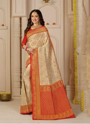Silk Cream Weaving Traditional Saree