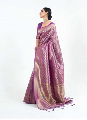 Purple Silk Weaving Traditional Saree