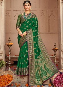 Silk Weaving Traditional Saree in Green