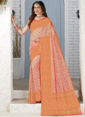 Silk Peach Weaving Trendy Saree