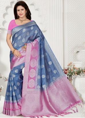 Silk Weaving Trendy Blue Saree