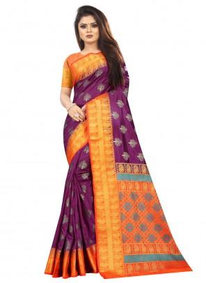 Silk Weaving Purple Trendy Saree