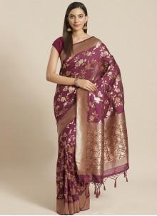 Silk Weaving Wine Designer Saree